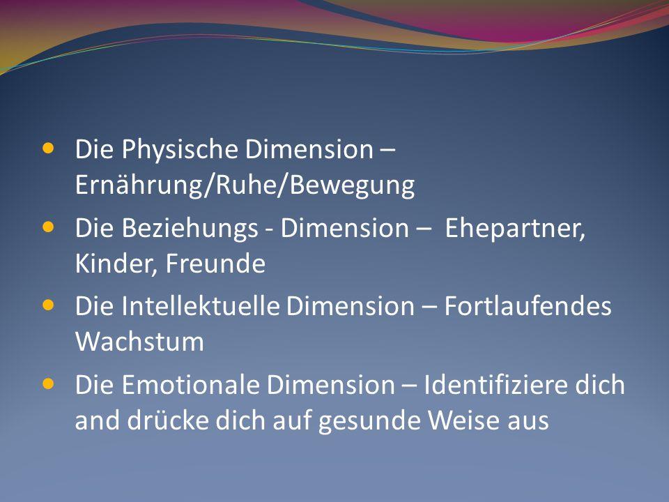 Die Physische Dimension – Ernährung/Ruhe/Bewegung