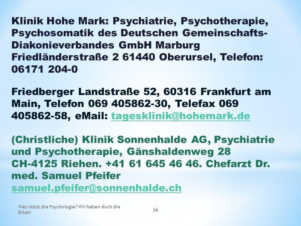 Friedländerstraße 2 61440 Oberursel, Telefon: 06171 204-0