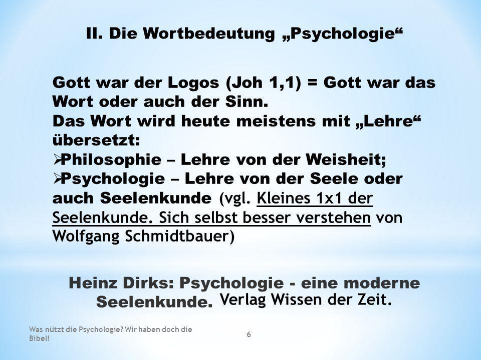 """II. Die Wortbedeutung """"Psychologie"""