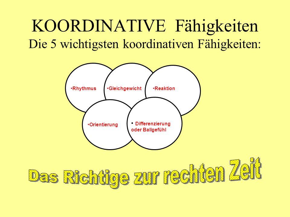 KOORDINATIVE Fähigkeiten Die 5 wichtigsten koordinativen Fähigkeiten: