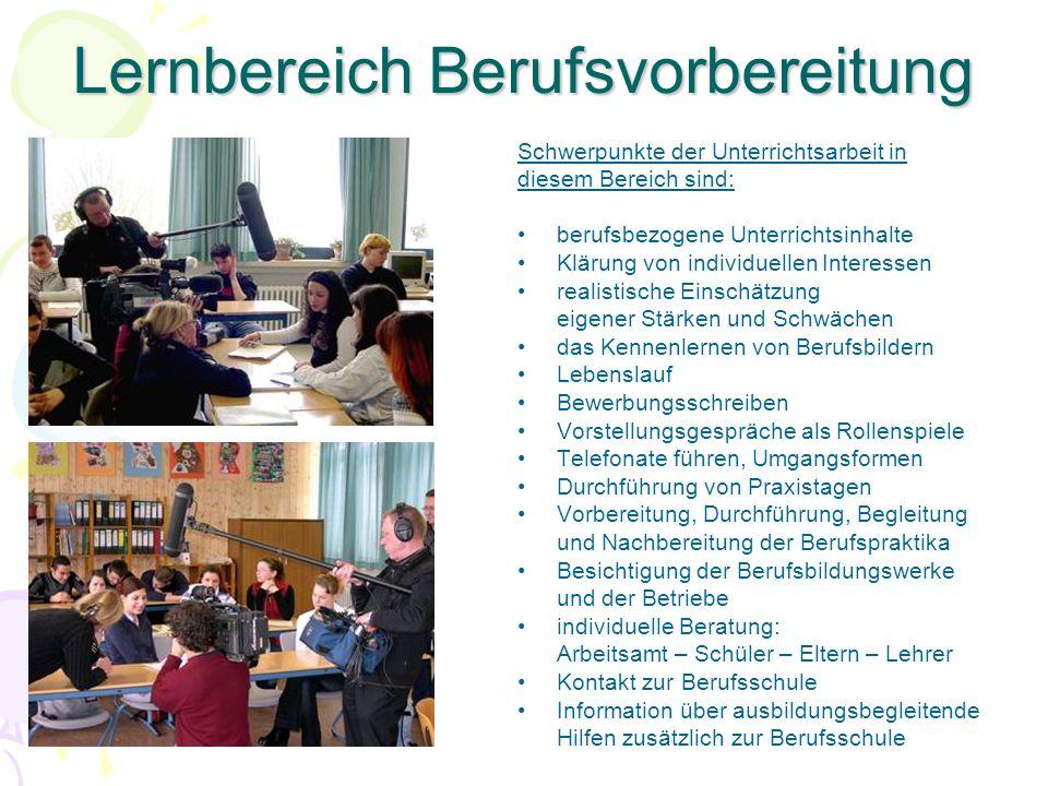 Lernbereich Berufsvorbereitung