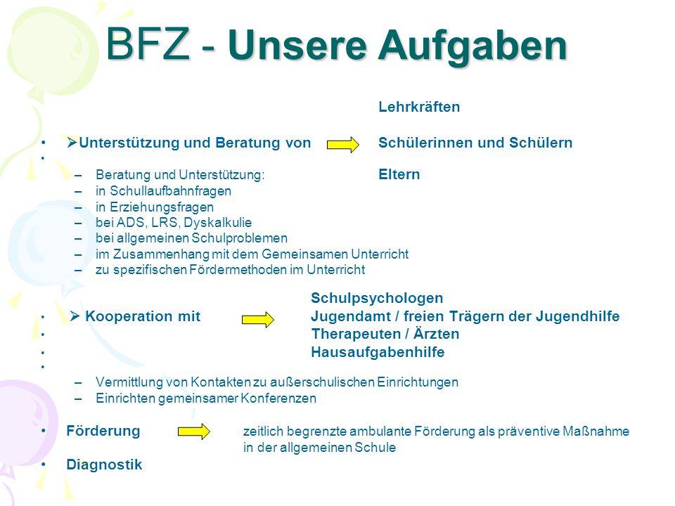 BFZ - Unsere Aufgaben Lehrkräften. Unterstützung und Beratung von Schülerinnen und Schülern. Beratung und Unterstützung: Eltern.