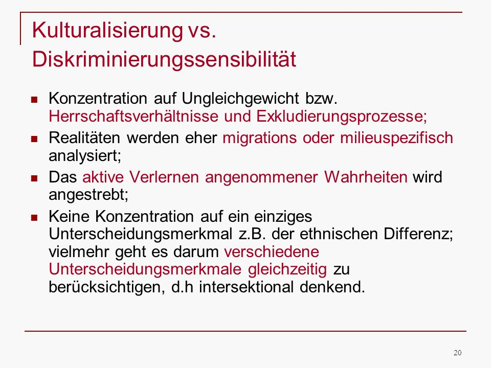 Kulturalisierung vs. Diskriminierungssensibilität