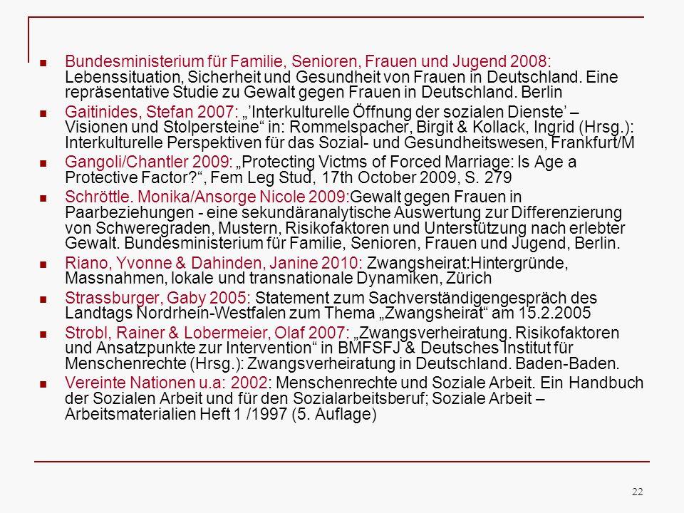 Bundesministerium für Familie, Senioren, Frauen und Jugend 2008: Lebenssituation, Sicherheit und Gesundheit von Frauen in Deutschland. Eine repräsentative Studie zu Gewalt gegen Frauen in Deutschland. Berlin
