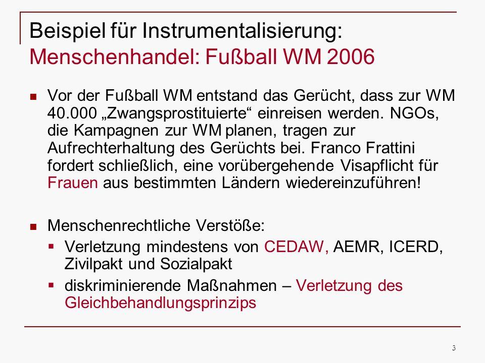 Beispiel für Instrumentalisierung: Menschenhandel: Fußball WM 2006