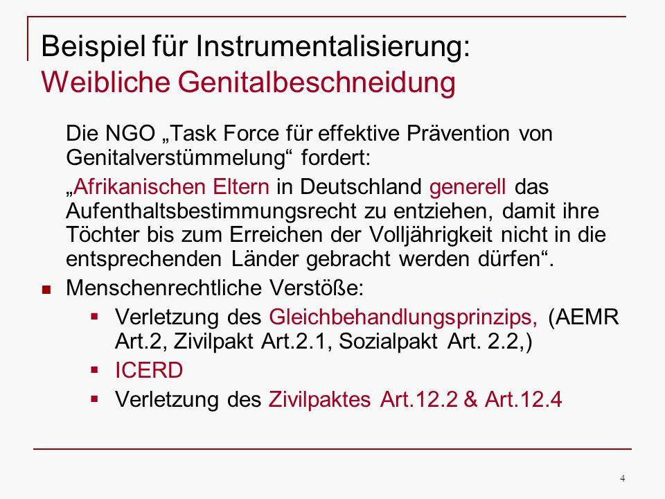 Beispiel für Instrumentalisierung: Weibliche Genitalbeschneidung