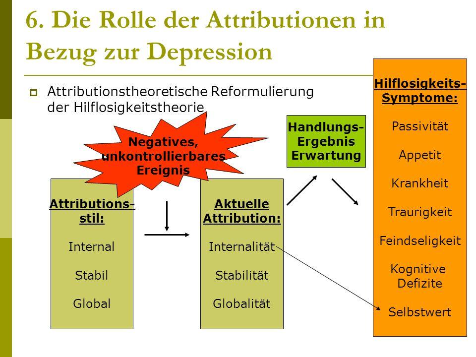6. Die Rolle der Attributionen in Bezug zur Depression
