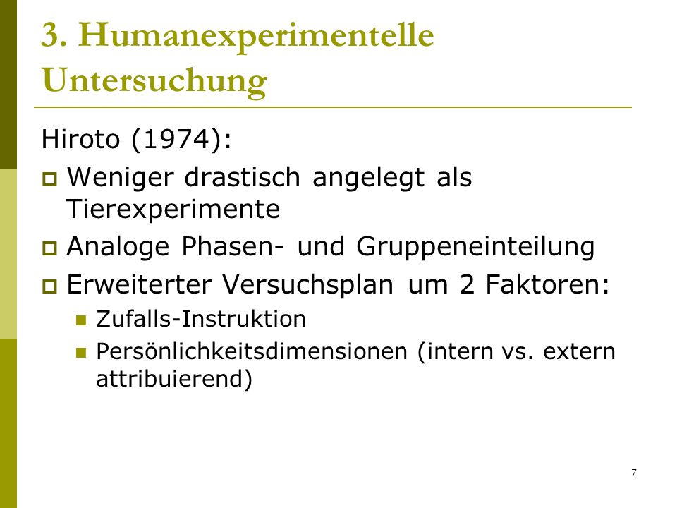 3. Humanexperimentelle Untersuchung
