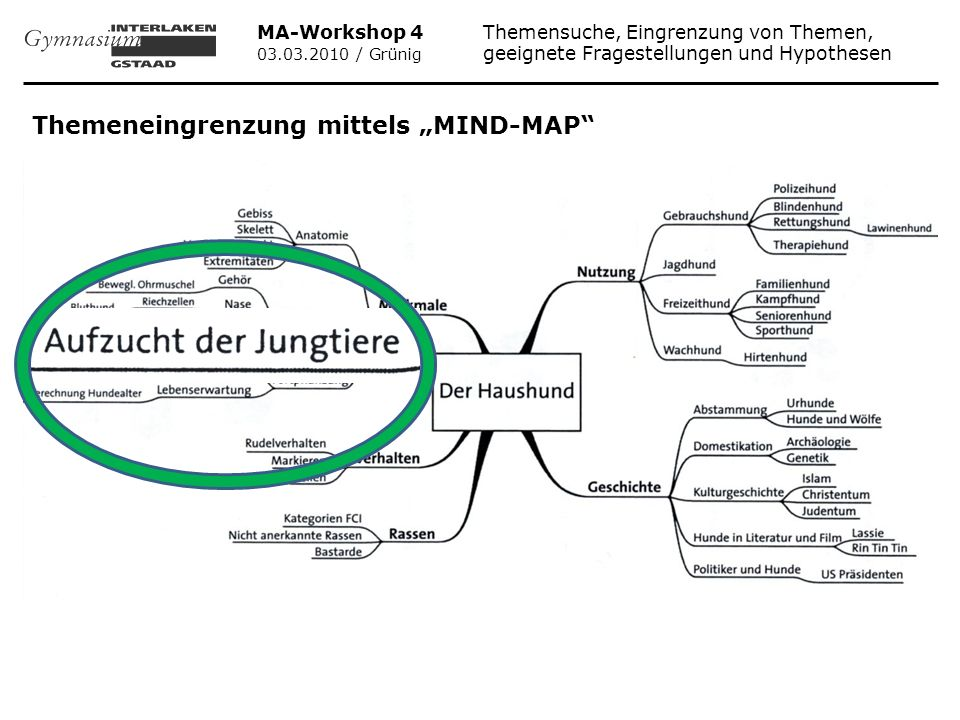 """Themeneingrenzung mittels """"MIND-MAP"""
