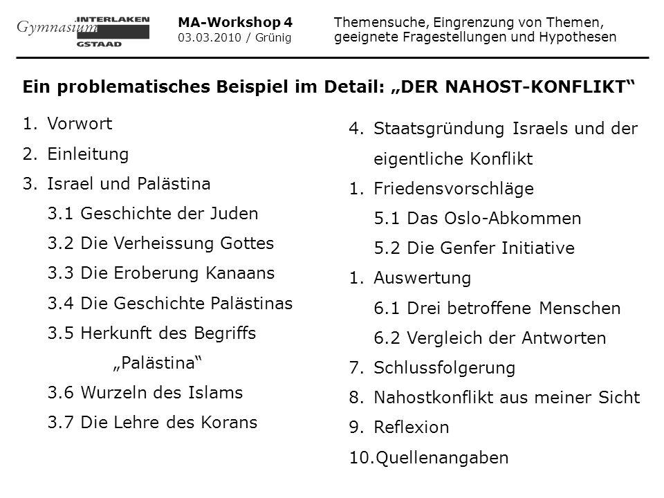"""Ein problematisches Beispiel im Detail: """"DER NAHOST-KONFLIKT"""