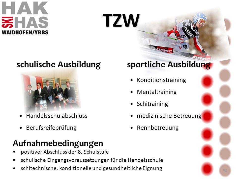 TZW schulische Ausbildung sportliche Ausbildung Aufnahmebedingungen