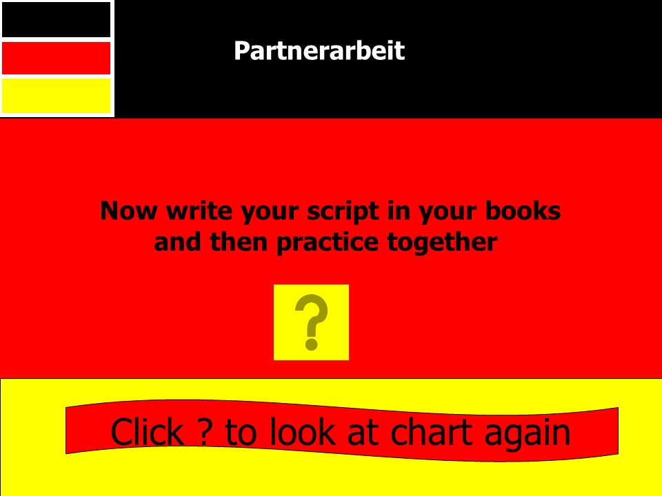 Now write your script in your books and then practice together