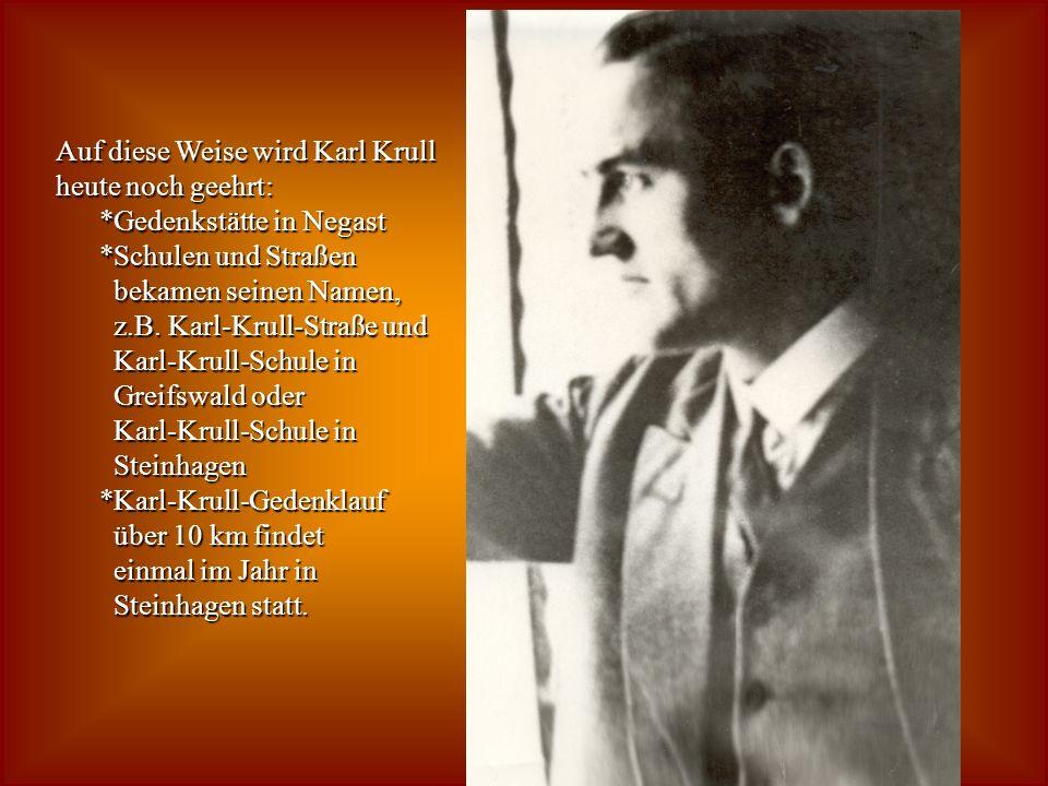 Auf diese Weise wird Karl Krull heute noch geehrt: