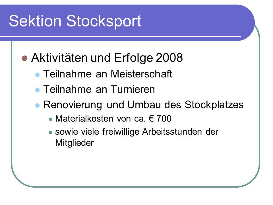 Sektion Stocksport Aktivitäten und Erfolge 2008