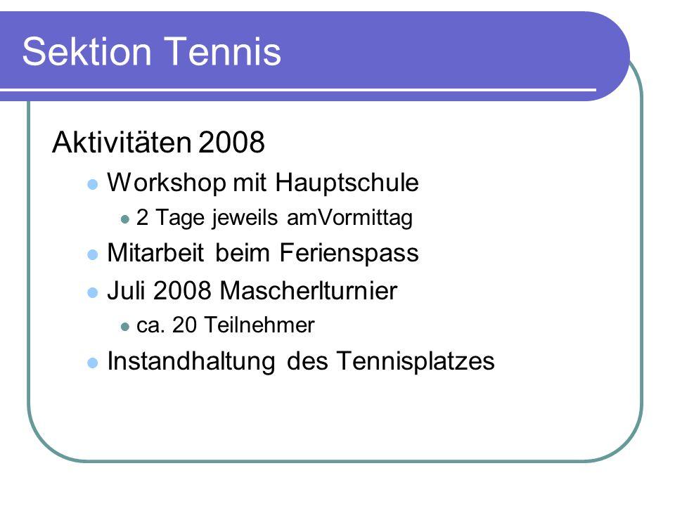 Sektion Tennis Aktivitäten 2008 Workshop mit Hauptschule