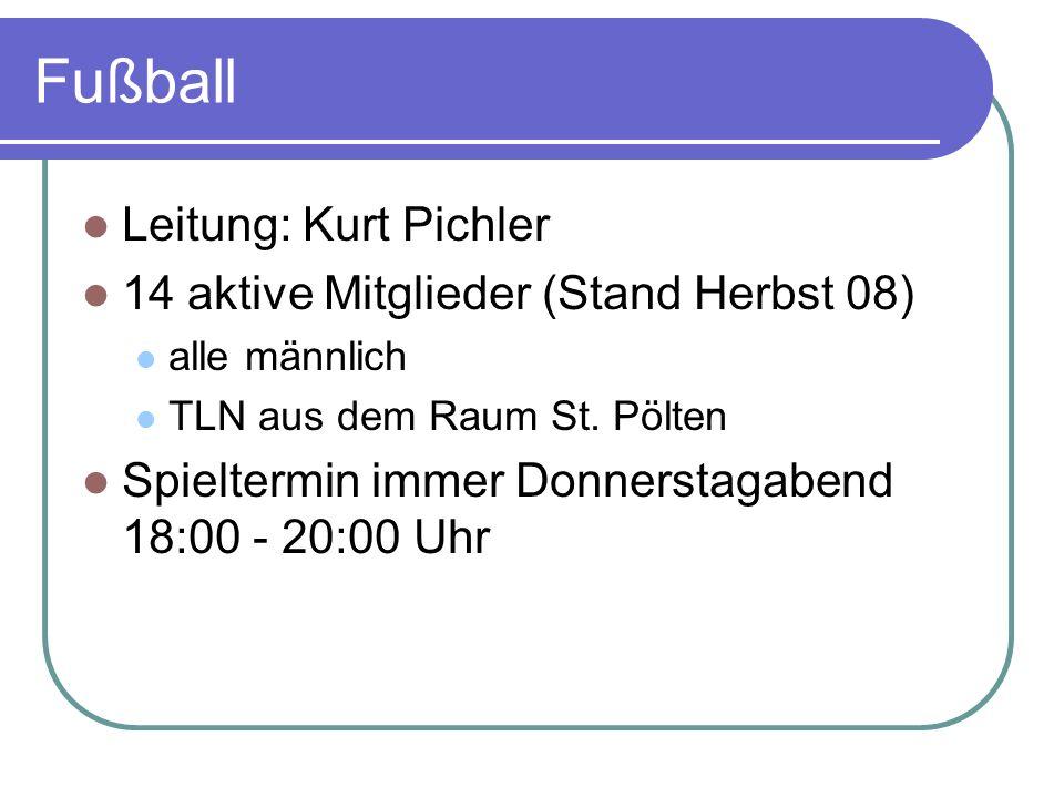Fußball Leitung: Kurt Pichler 14 aktive Mitglieder (Stand Herbst 08)