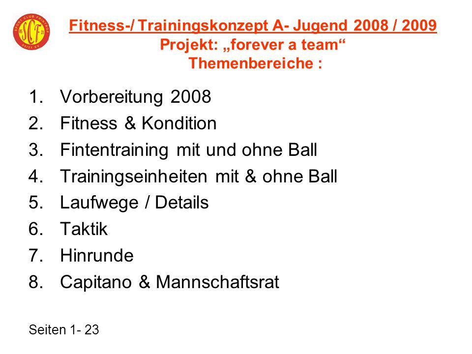 Fintentraining mit und ohne Ball Trainingseinheiten mit & ohne Ball