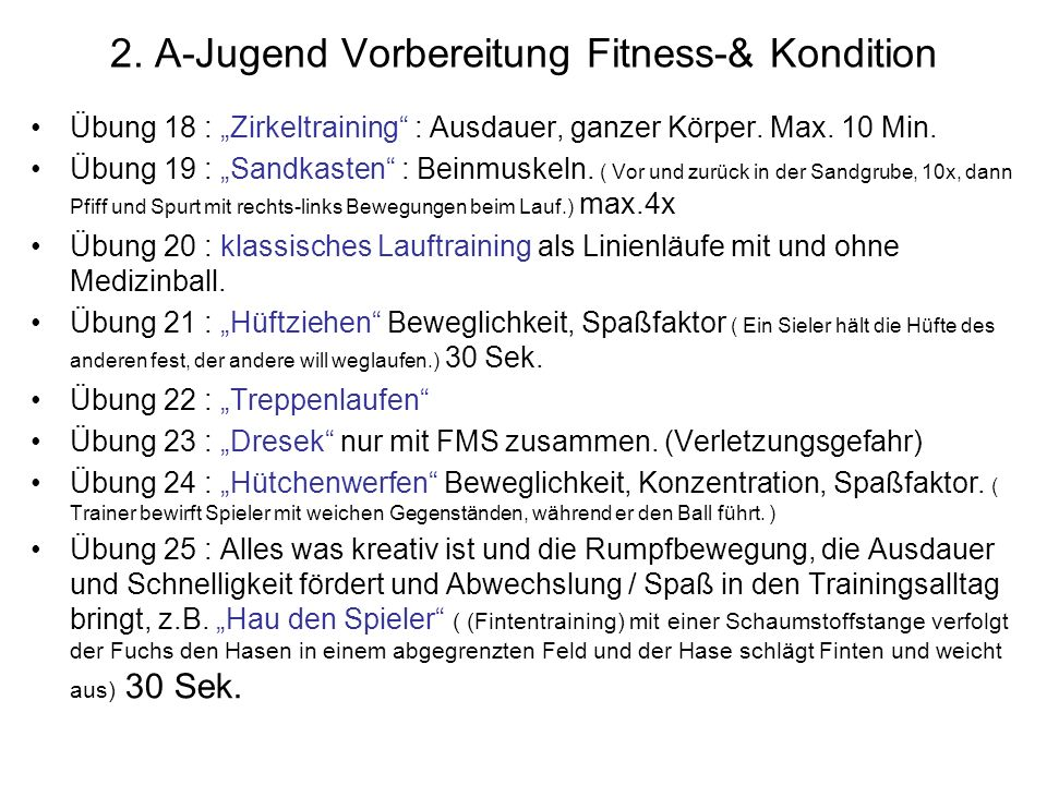 2. A-Jugend Vorbereitung Fitness-& Kondition