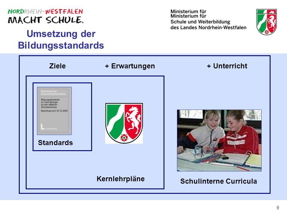 Umsetzung der Bildungsstandards Schulinterne Curricula