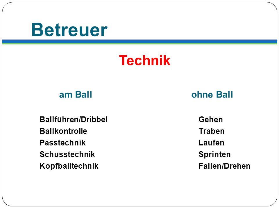 Betreuer Technik am Ball ohne Ball Ballführen/Dribbel Gehen