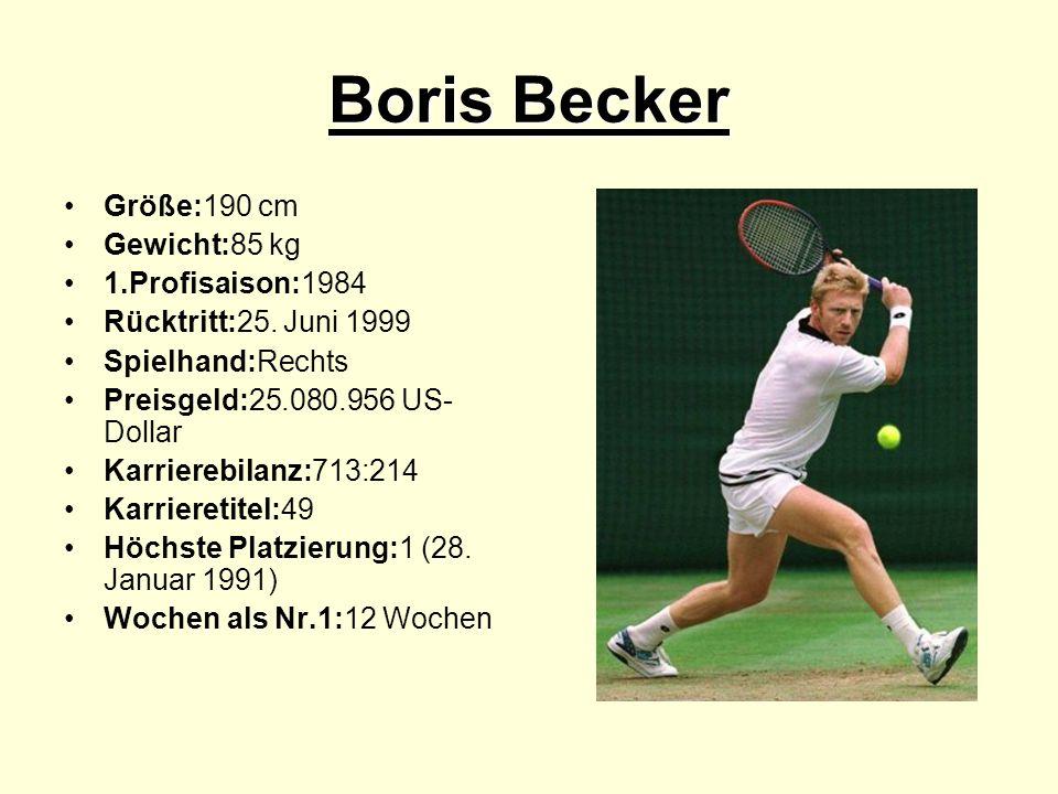 Boris Becker Größe:190 cm Gewicht:85 kg 1.Profisaison:1984