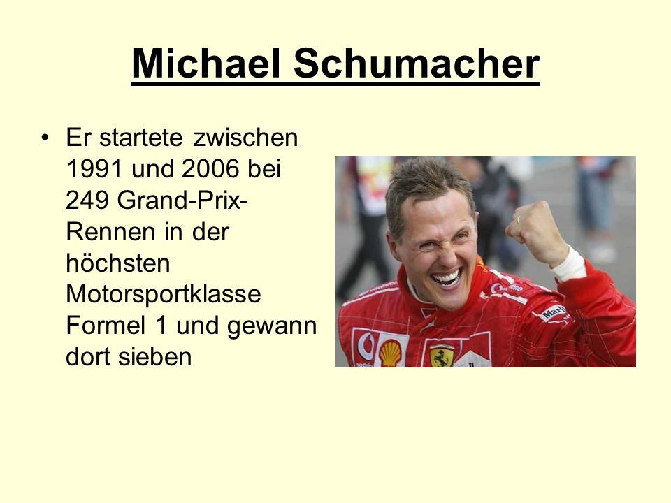 Michael Schumacher Er startete zwischen 1991 und 2006 bei 249 Grand-Prix-Rennen in der höchsten Motorsportklasse Formel 1 und gewann dort sieben.