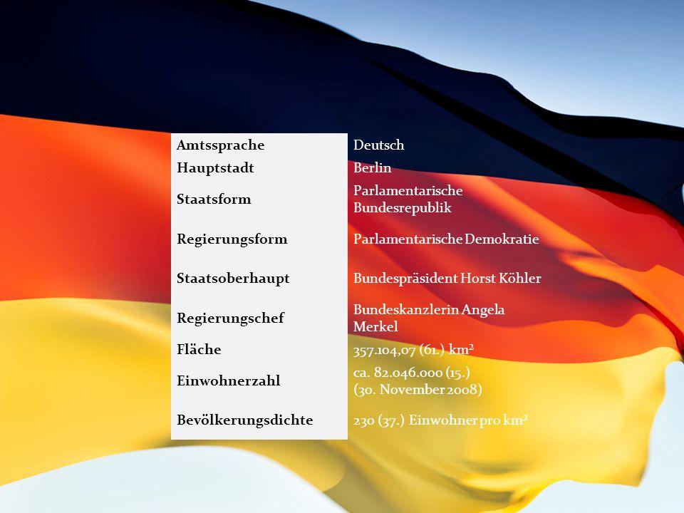 Amtsprache:. Deutsch Haupstadt:. Berlin Staatsform:. Parlamentarische