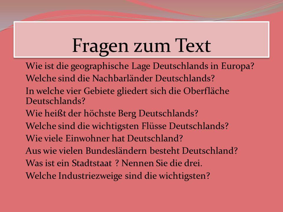 Fragen zum Text Wie ist die geographische Lage Deutschlands in Europa