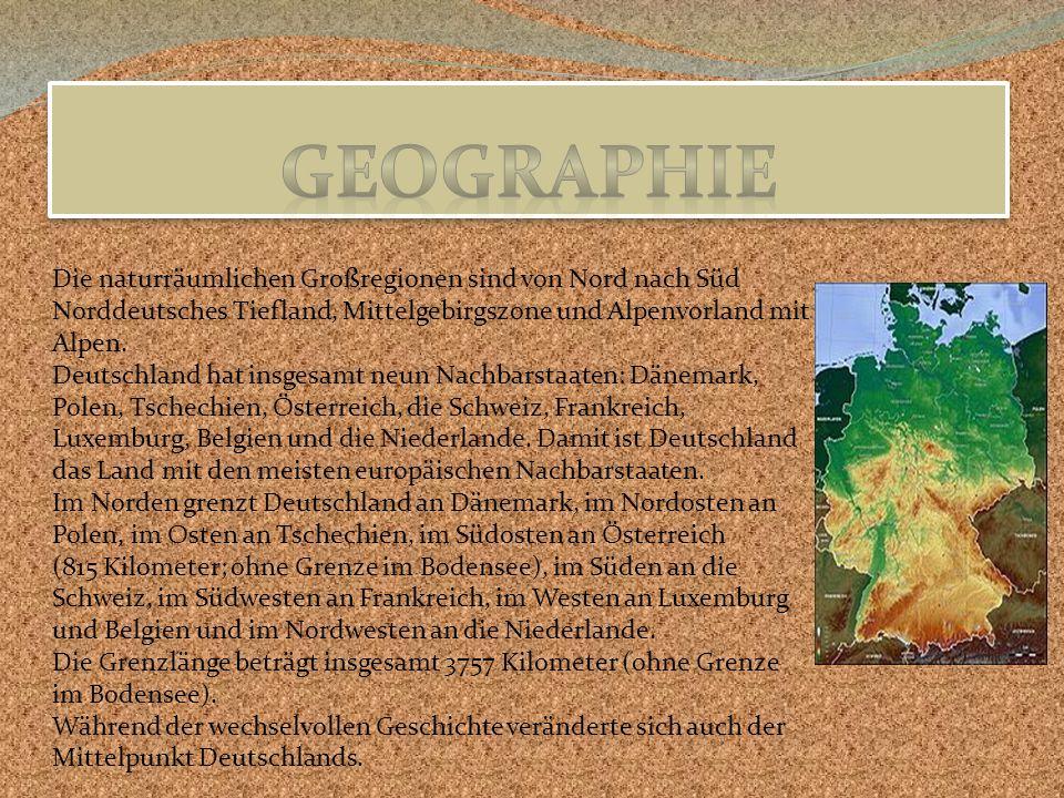 Geographie Die naturräumlichen Großregionen sind von Nord nach Süd Norddeutsches Tiefland, Mittelgebirgszone und Alpenvorland mit Alpen.