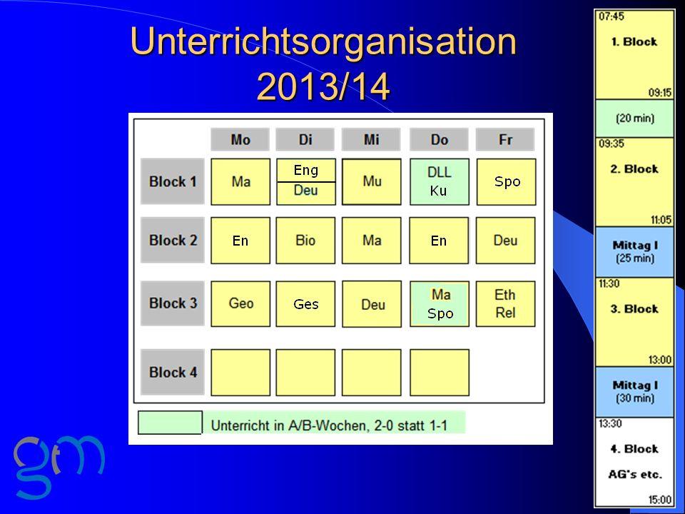 Unterrichtsorganisation 2013/14