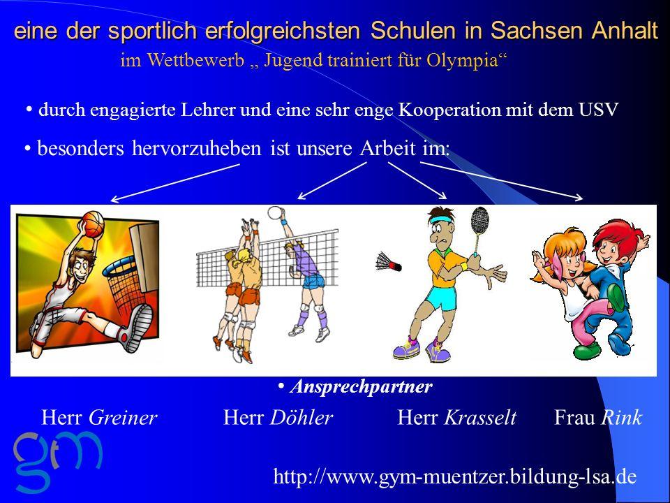 eine der sportlich erfolgreichsten Schulen in Sachsen Anhalt