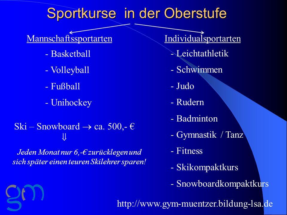 Sportkurse in der Oberstufe