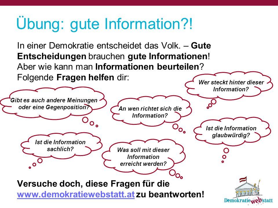 Übung: gute Information !