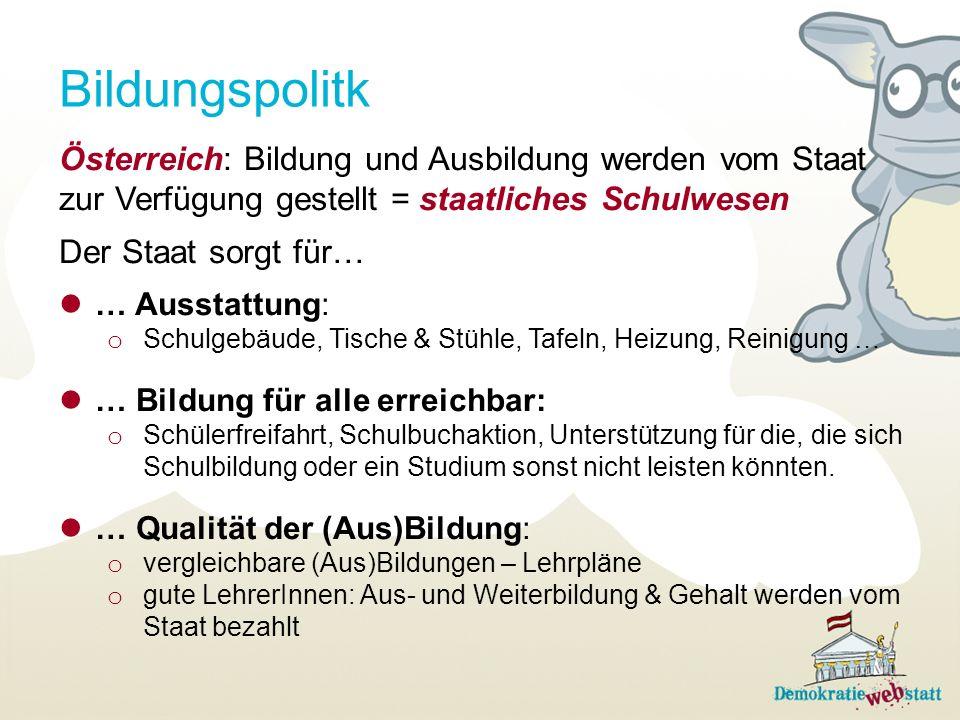 Bildungspolitk Österreich: Bildung und Ausbildung werden vom Staat zur Verfügung gestellt = staatliches Schulwesen.