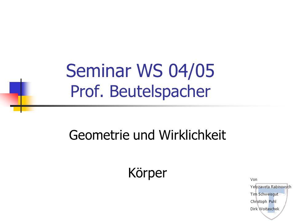 Seminar WS 04/05 Prof. Beutelspacher