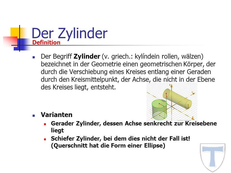 Der Zylinder Definition.
