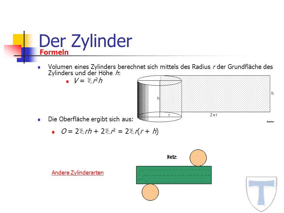 Der Zylinder Formeln V = Br2h O = 2Brh + 2Br2 = 2Br(r + h)