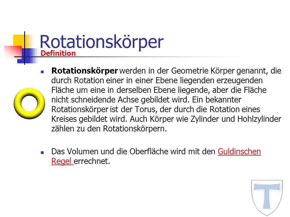 Rotationskörper Definition.