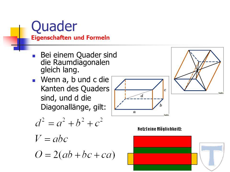 Quader Eigenschaften und Formeln