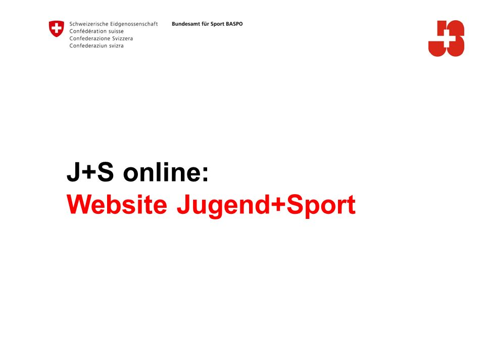 J+S online: Website Jugend+Sport A