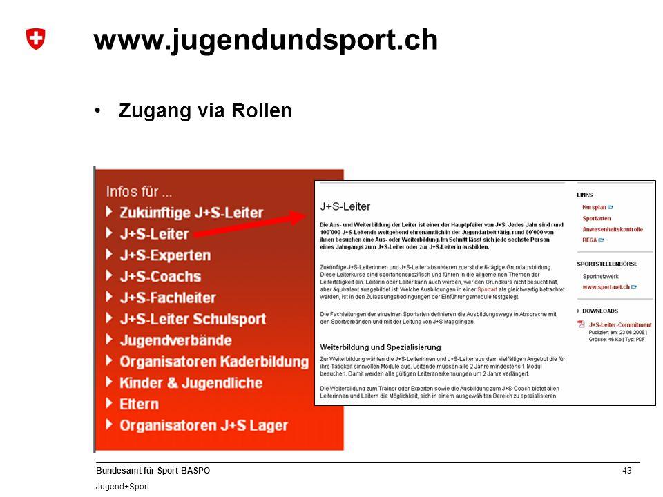 www.jugendundsport.ch Zugang via Rollen B