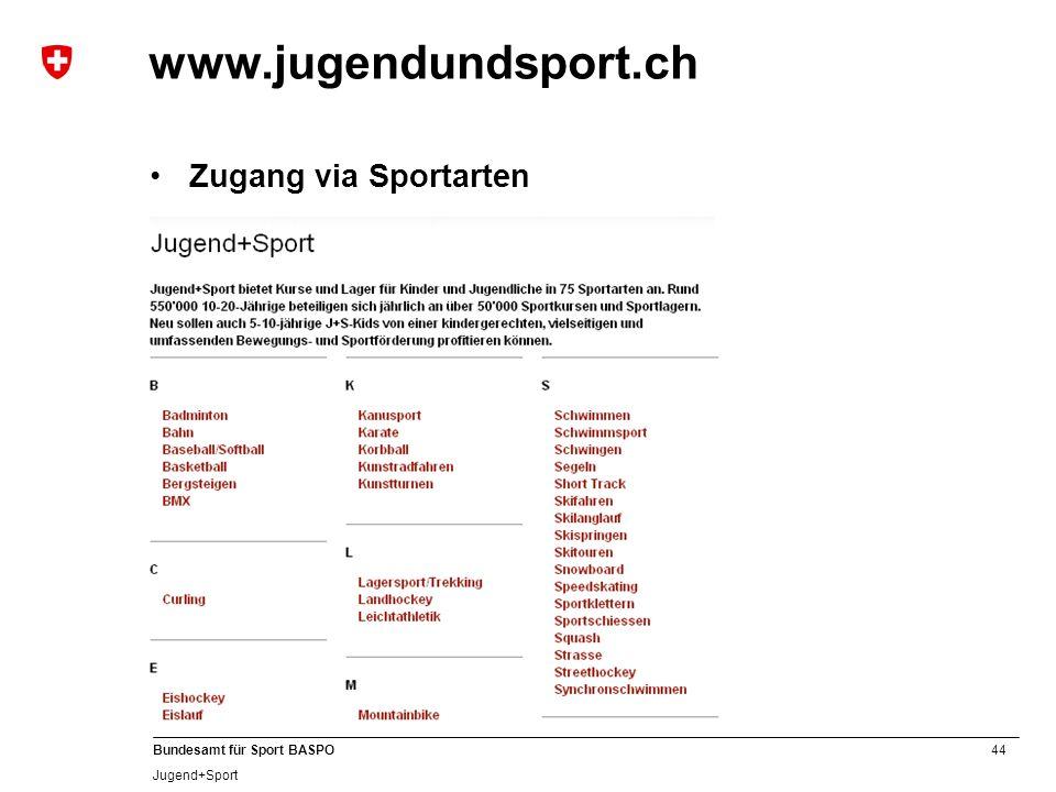 www.jugendundsport.ch Zugang via Sportarten B