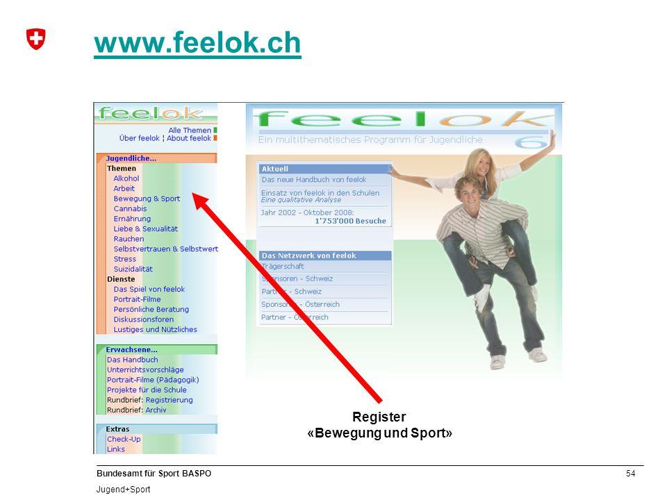 www.feelok.ch B Register «Bewegung und Sport»