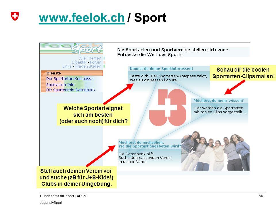 B www.feelok.ch / Sport Schau dir die coolen Sportarten-Clips mal an!
