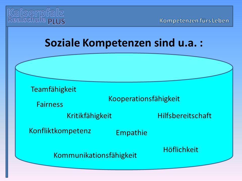 Kompetenzen fürs Leben Soziale Kompetenzen sind u.a. :