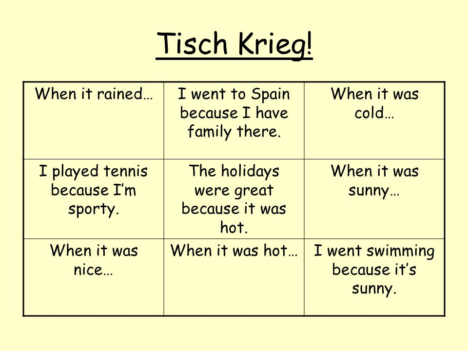 Tisch Krieg! When it rained…