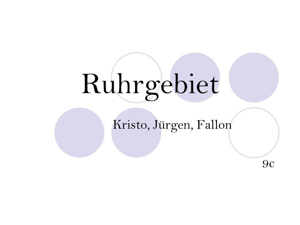 Ruhrgebiet Kristo, Jürgen, Fallon 9c
