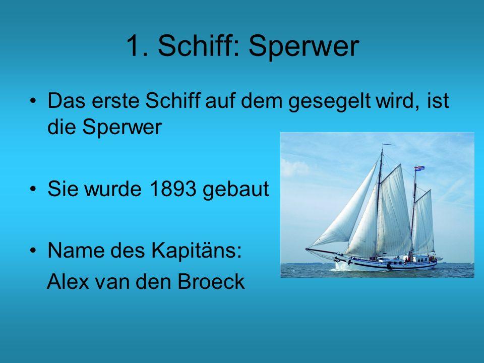 1. Schiff: Sperwer Das erste Schiff auf dem gesegelt wird, ist die Sperwer. Sie wurde 1893 gebaut.