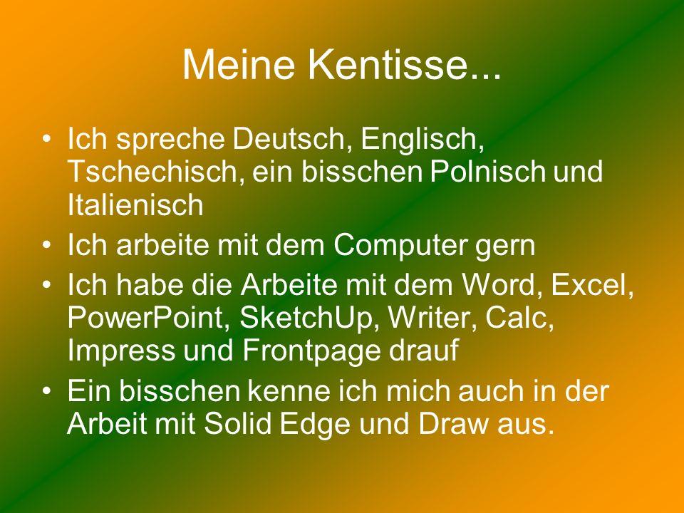 Meine Kentisse... Ich spreche Deutsch, Englisch, Tschechisch, ein bisschen Polnisch und Italienisch.