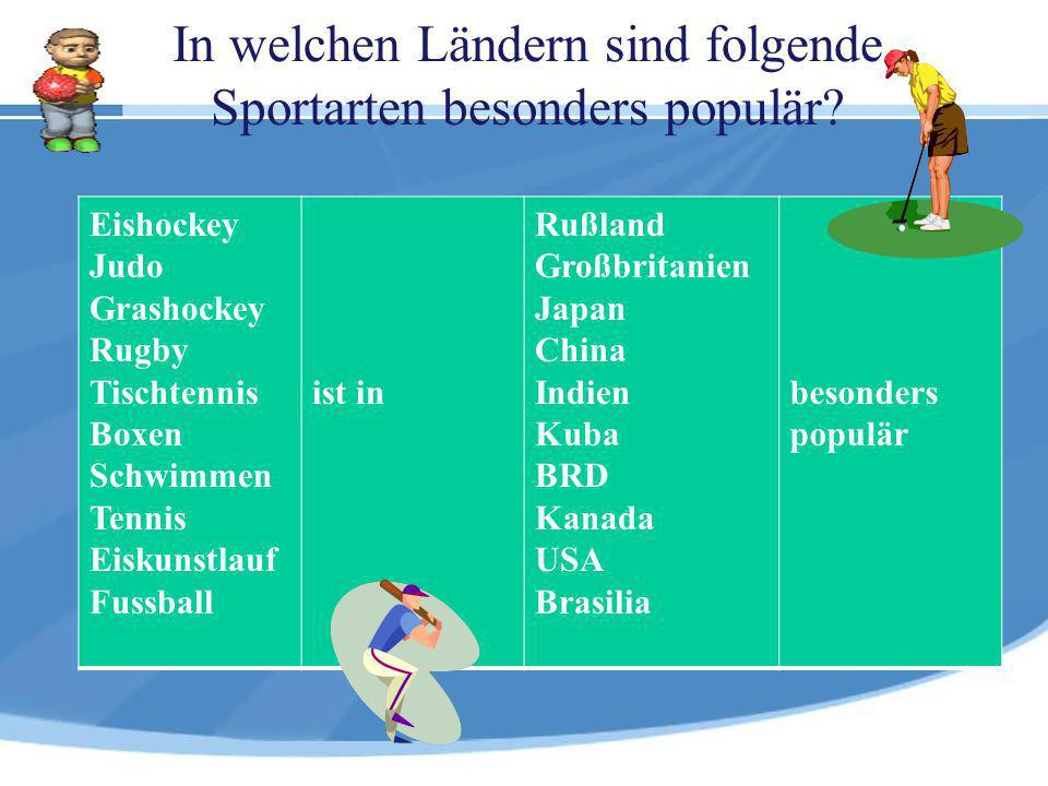 In welchen Ländern sind folgende Sportarten besonders populär